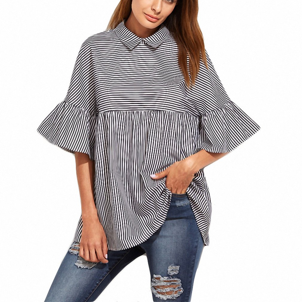 af60470fb7b505 Women Blouses and Tops European Style Korean Women Clothing Striped Ruffle  Sleeve Babydoll Top Blouse at Amazon Women's Clothing store: