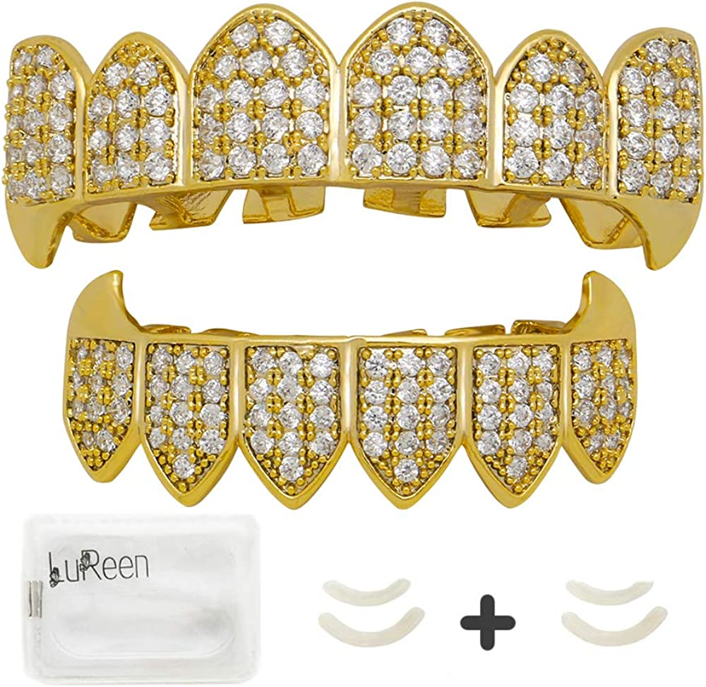 LuReen Diamond Teeth Grillz Gold Vampire Fangs CZ Grillz for Men Women Top Bottom Grillz + 2 Extra Molding Bar
