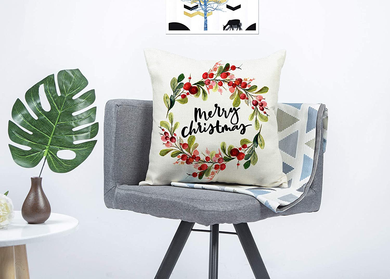 4TH Emotion Merry Christmas Berry Wreath Throw Pillow Cover Cushion Case for Sofa Couch 18 x 18 Inch Cotton Linen