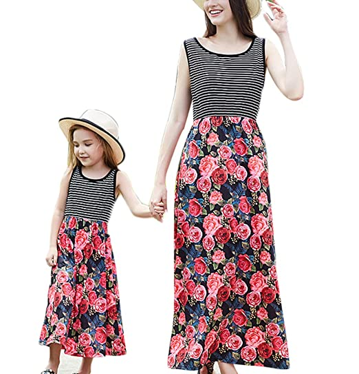 d8146fd24d Family Matching Mother Daughter Patchwork Holiday Sleeveless Tank Maxi Dress  (Kid (A),