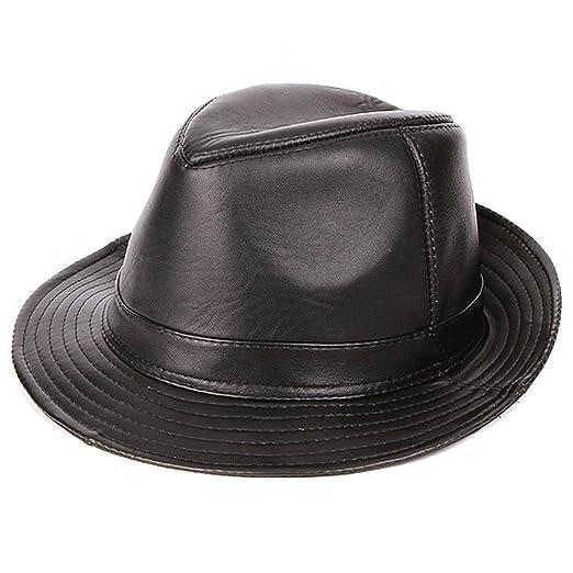 Cappello Jazz in Pelle da Uomo Cappello Panama in Pelle di Montone Cappello  Fedora in Pelle Fedora (XXXL)  Amazon.it  Abbigliamento 18a685cf0019