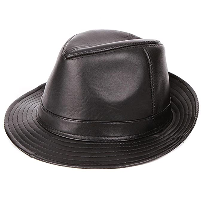 Cappello Jazz in Pelle da Uomo Cappello Panama in Pelle di Montone Cappello  Fedora in Pelle 164d54d6a936