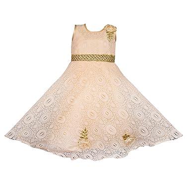 4c20185f3c192 Wish Karo Girls Cream Net Party Wear Long Dress Gown DN - (LF132crm_3-4