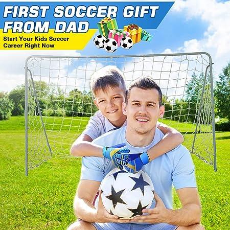 Goalkeeper Goalie Football Gloves Kids Junior Youth Boy Girl Soccer Training Goal Keeper Gloves with Embossed Anti-slip Latex Palm and Soft PU Hand Back