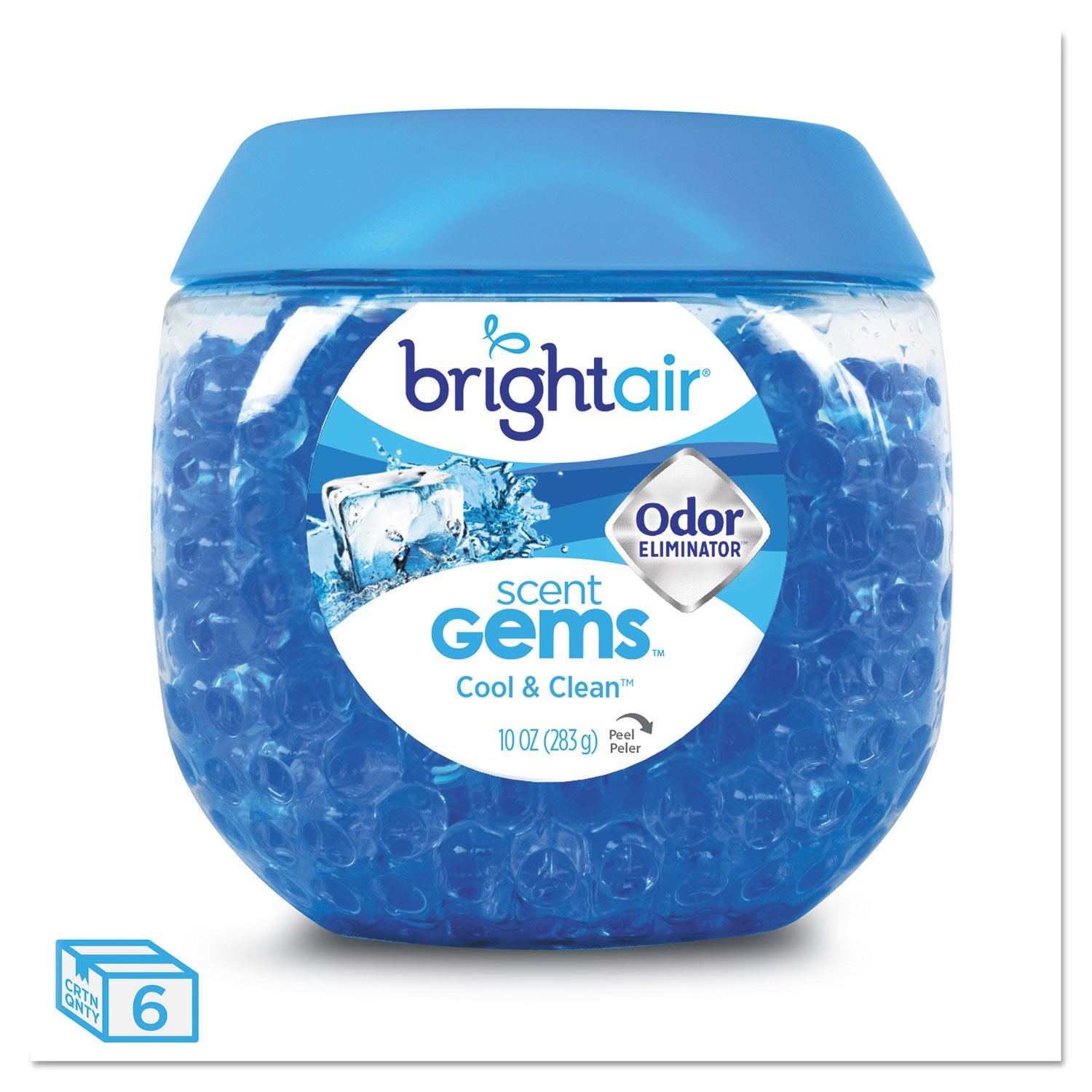 BRIGHT Air 900228CT Scent Gems Odor Eliminator, Cool and Clean, Blue, 10 oz (Case of 6)