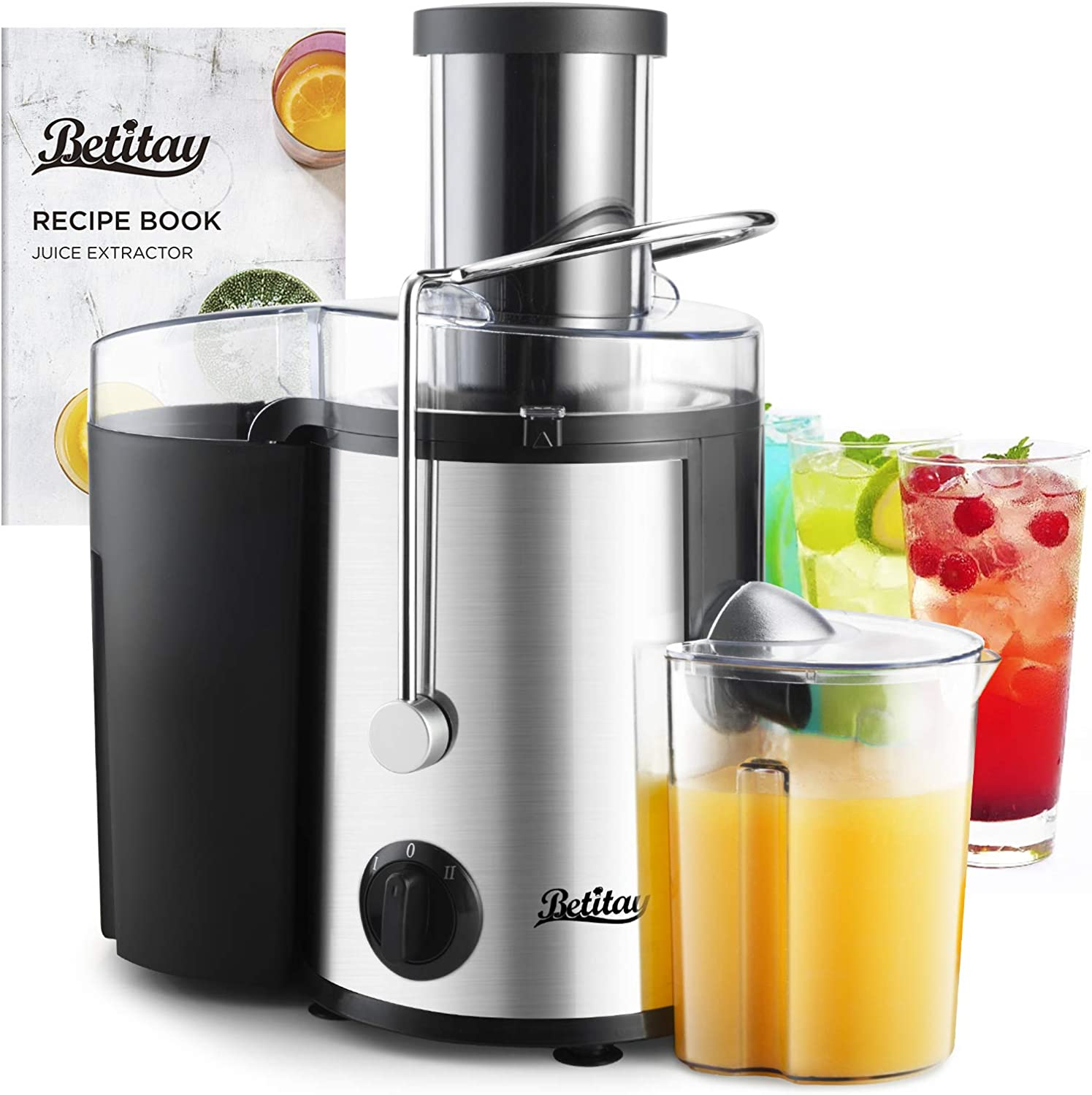 Betitay Juice Extractor Maker with Recipe,Detachable Dual Speed Centrifugal Juicer Machine with Anti-Drip Wide Feed Chute and BPA-Free Pusher and Container,Filter with Built-in SS304 Blade for Fruits and Vegetables,Plus Cleaning Brush
