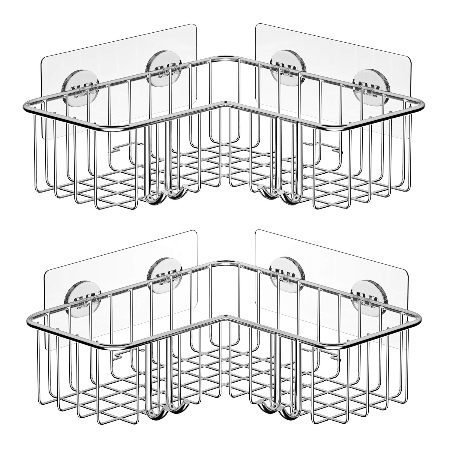 SMARTAKE 2-Pack Corner Shower Caddy, Adhesive Bath Shelf with Hooks, SUS304 Stainless Steel Storage Organizer for Bathroom, Toilet, Kitchen and Dorm by SMARTAKE