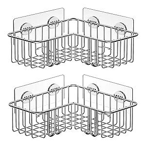 SMARTAKE 2-Pack Corner Shower Caddy, Adhesive Bath Shelf with Hooks, SUS304 Stainless Steel Storage Organizer for Bathroom, Toilet, Kitchen and Dorm