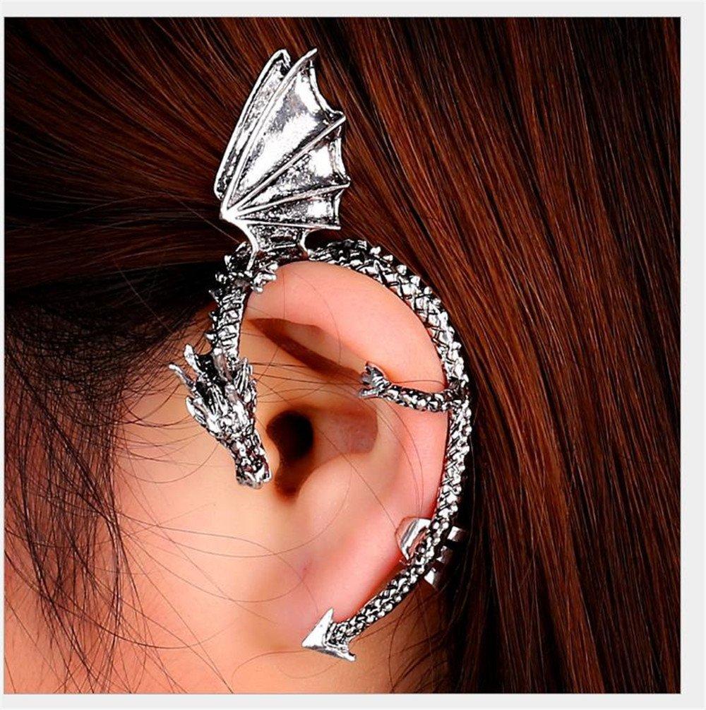 1//2X Gothic Punk Temptation Metal Dragon Bite Ear Cuff Wrap Clip Earring TD