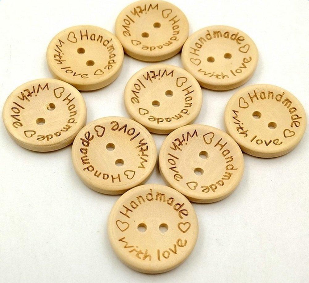 Gespout Lot de 100 pcs Boutons en Bois DIY Buttons-round 2 Trous Boutons pour Couture et Travaux Manuels Craft