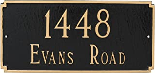 "product image for Montague Metal 7.25"" x 15.75"" Madison Two Line Address Sign Plaque, Standard, Navy/Silver"