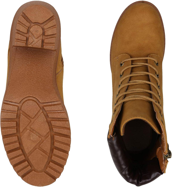 SCARPE VITA Damen Stiefeletten Worker Boots mit Blockabsatz Profilsohle