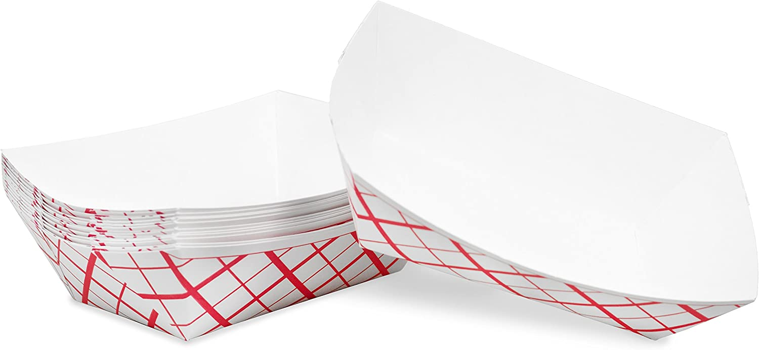 1 lb Red White Plaid Disposable Paper Food Tray for Carnivals, Fairs, Festivals, Concession Stands, Food Trucks (Red Check - small 1 lb, 25)