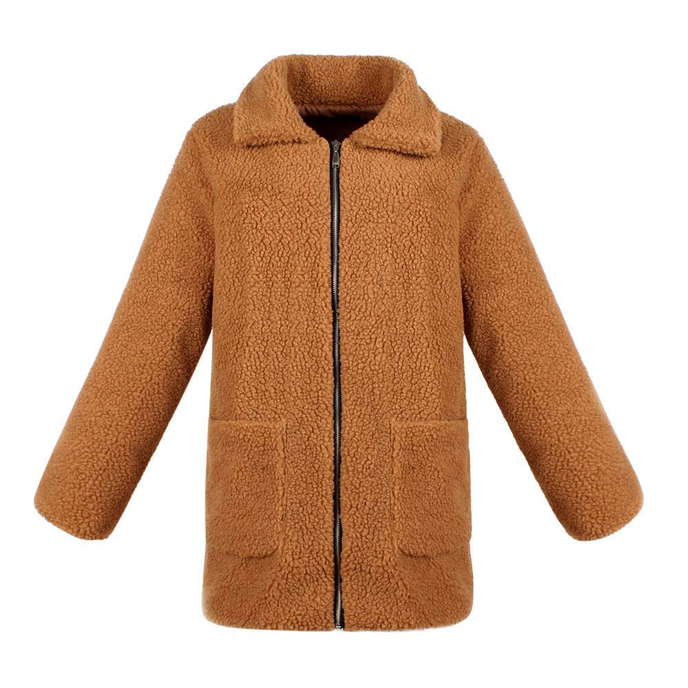 brown Sweater color Women's Ladies Warm Artificial Wool Coat Zipper Jacket Winter Parka Outerwear Solid color Wild Tight for Women