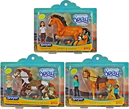 Spirit and Lucky Small Horse and Doll Toy Set Breyer Spirit Riding Free