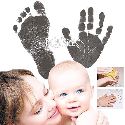 BabyRice - Kit para captura de huellas de bebé (sin tinta) negro negro
