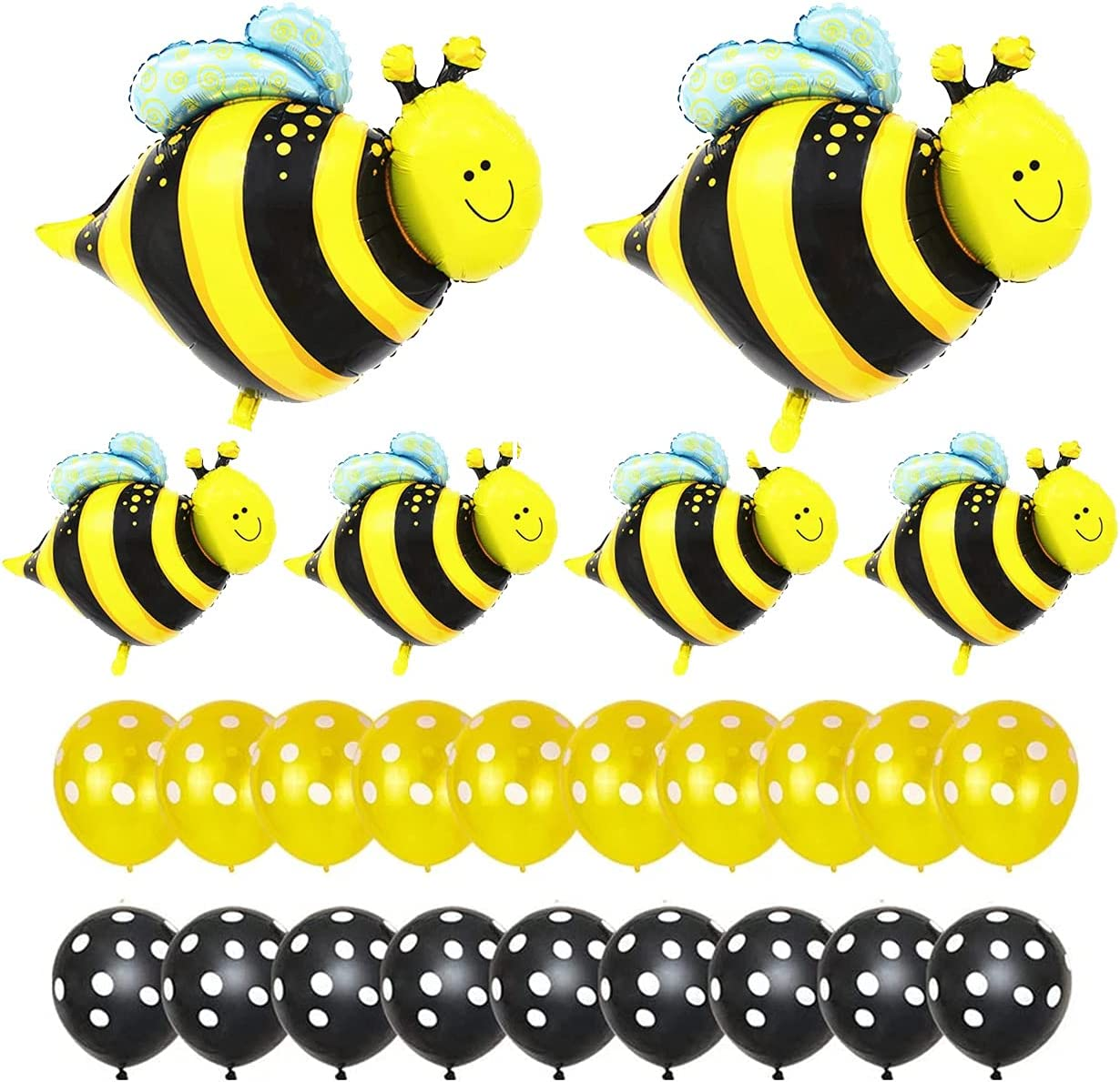 Bee Foil Balloons Black Yellow Latex Balloons Set for Baby Shower Birthday Bumblebee Party Decor Supplies