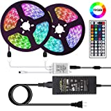 eTopxizu 32.8ft 10M SMD 5050 RGB LED Strip Lights 300leds IP65 Waterproof Lighting Color Changing Tape with 44 Keys IR Remote Controller DC 12V 5A Power Supply for TV,Home Kitchen Bedroom Decor