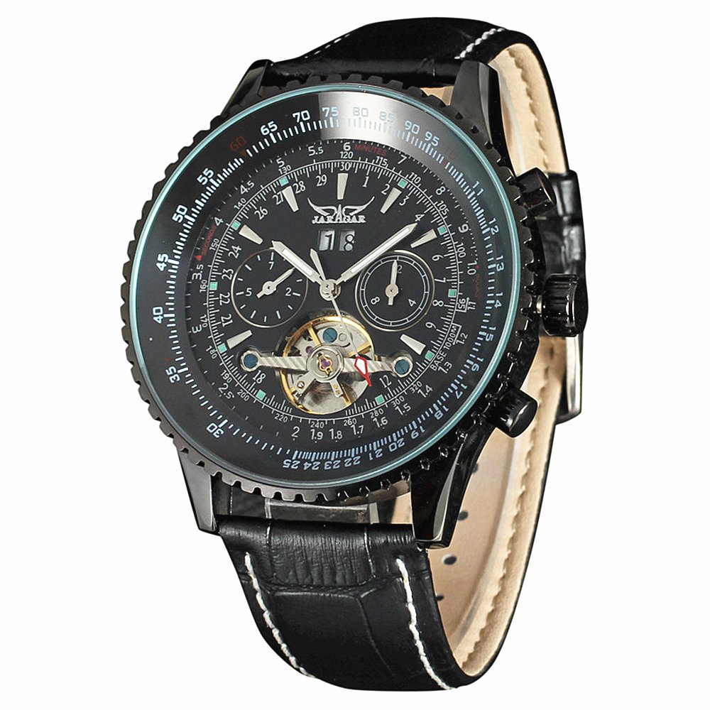 JARAGAR Luxury Big Dial Chronograph Gear Case Tourbillon Auto Black Mechanical Watch Leather Strap Men Wristwatches by JARAGAR