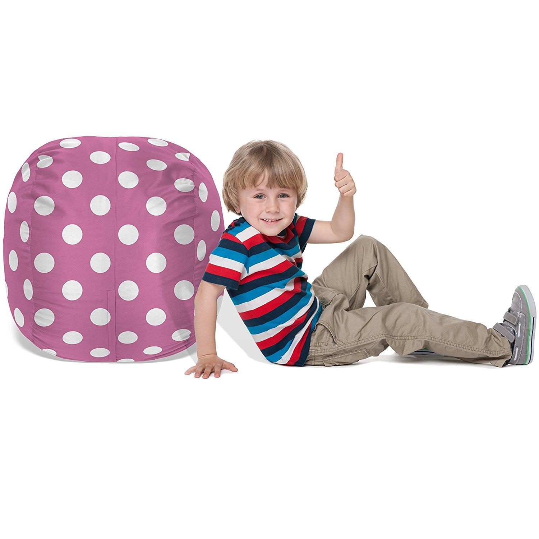 Pink with Polka dOTS Pouf Ottoman for Toy Storage 2.5ft BeanBob Stuffed Animal Bean Bag Kids Stuffed Animal Storage Bag Chair