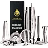 11-Piece Bartender Kit Boston Cocktail Shaker Bar Set by VinoBravo : 2 Weighted Shaker Tins, Strainer Set, Double Jigger, Bar Spoon, Ice Muddler & Tong, 2 Liquor Pourers & Recipe Guide(Siver)