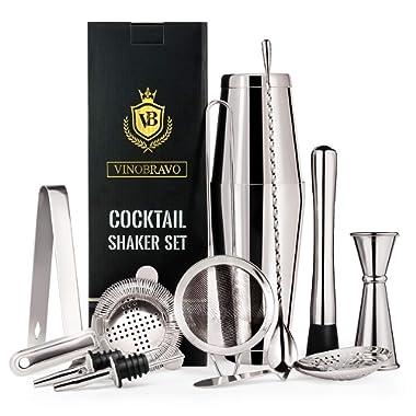 11-Piece Bartender Kit Boston Cocktail Shaker Bar Set by VinoBravo : 2 Weighted Shaker Tins, Strainer Set, Double Jigger, Bar Spoon, Ice Muddler & Tong, 2 Liquor Pourers & Recipe Guide (Silver)