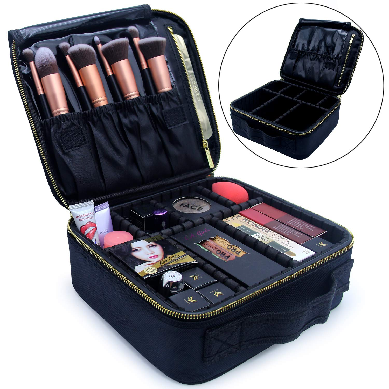 Makeup Train Case, Travel Makeup Bag Makeup Case Cosmetic Bag Toiletry Makeup Brushes Organizer Portable Travel Bag Artist Storage Bag with Adjustable Dividers (black with golden zipper)