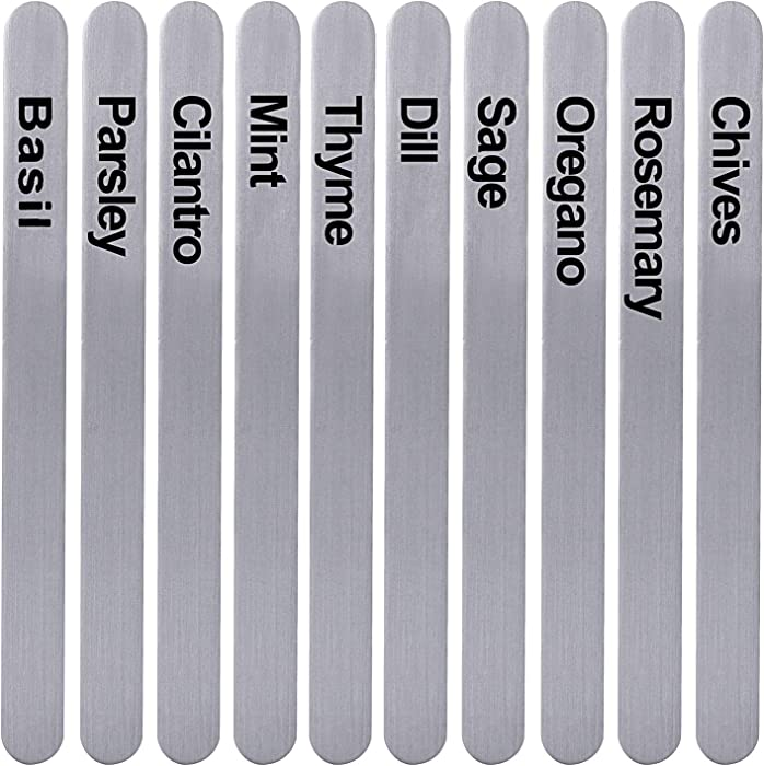 HERB BROS Aluminum Herb Markers [Set of 10] - Metal Plant Labels for Garden Herbs - No-Rust Plant Identification Stakes - Easy-to-Read Plant Tags