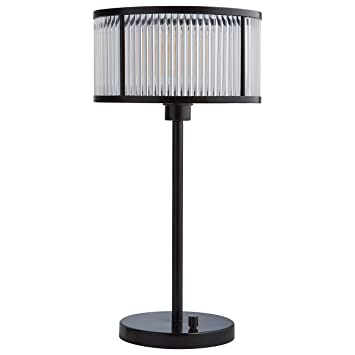 Stone Beam Modern Art Deco Table Desk Lamp With Light Bulb And Acrylic Shade 8 X 8 X 22 Inches Black