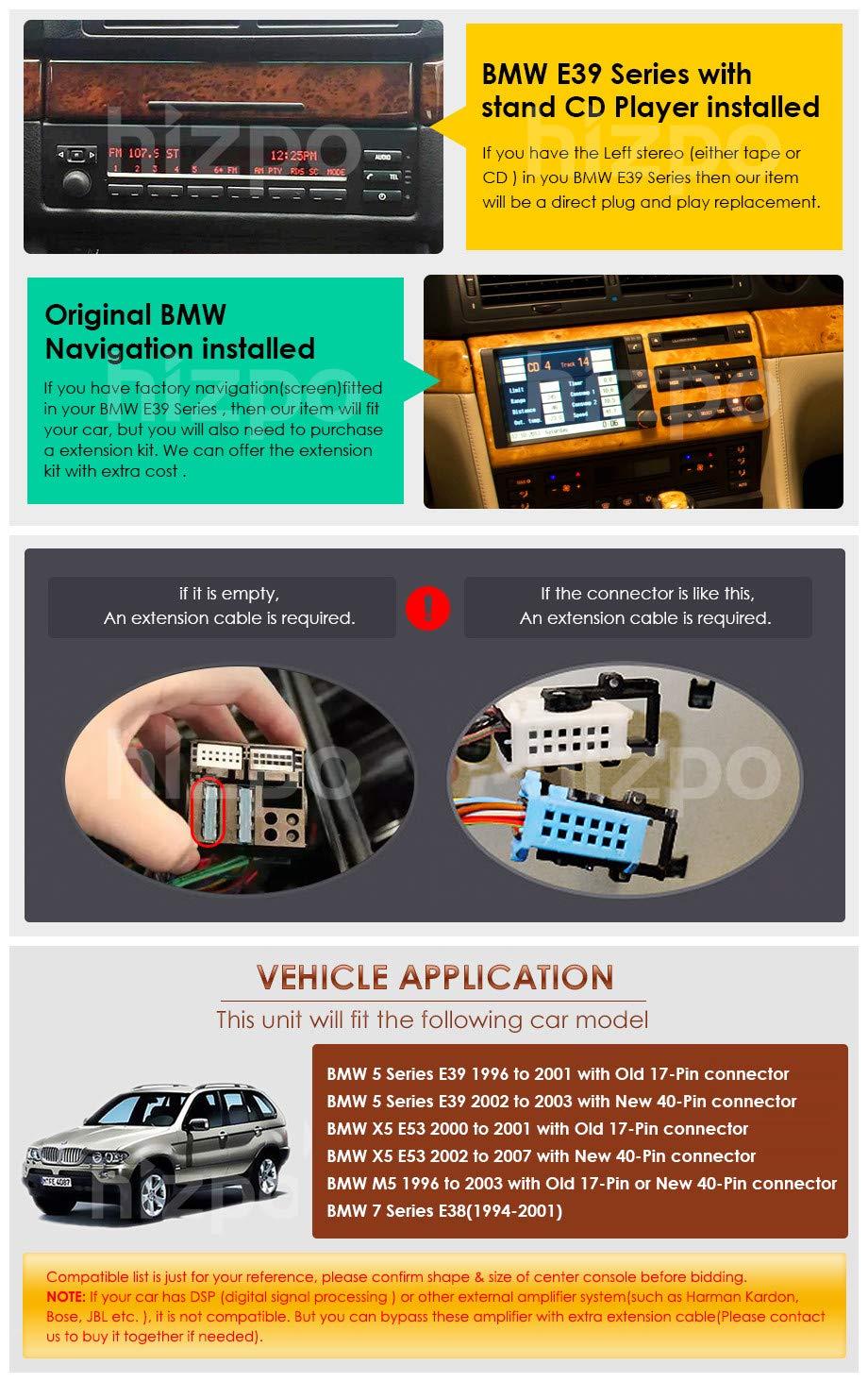 Hizpo Android 9.0 Lecteur Autoradio Bluetooth GPS avec Navigation GPS 9 1024X600 HD /Écran Tactile WiFi 4G USB SD CAM-in Compatible avec BMW S/érie 5 E39 BMW X5 E53 M5 BMW 7