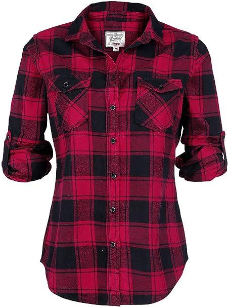 Brandit Amy Flannel Checkshirt Camicia in Flanella Nero//Bianco
