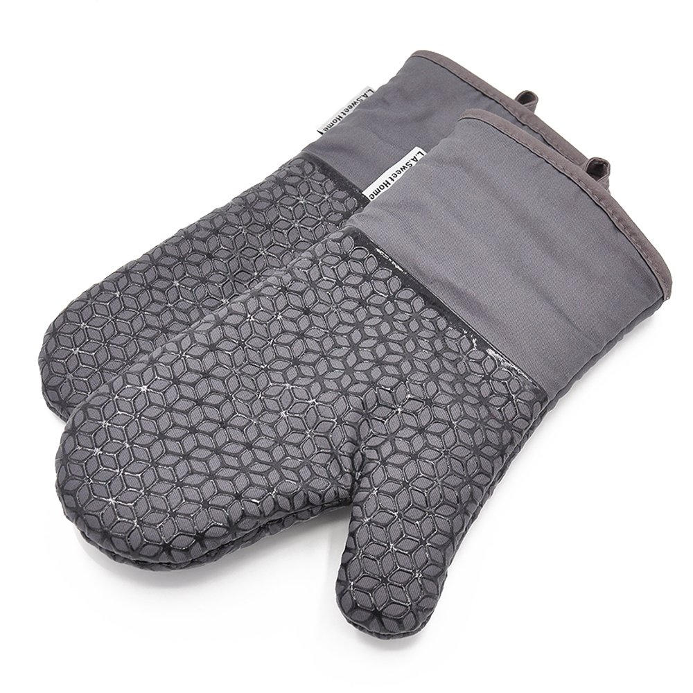 LA Sweet Home Silicone Oven Mitts Flower Pattern Heat Resistant Pot Holders for Kitchen Oven, BBQ Grill and Fire Pits - Ideal for Cooking, Baking, Grilling - Non-Slip Grip (Grey) 1 Pair