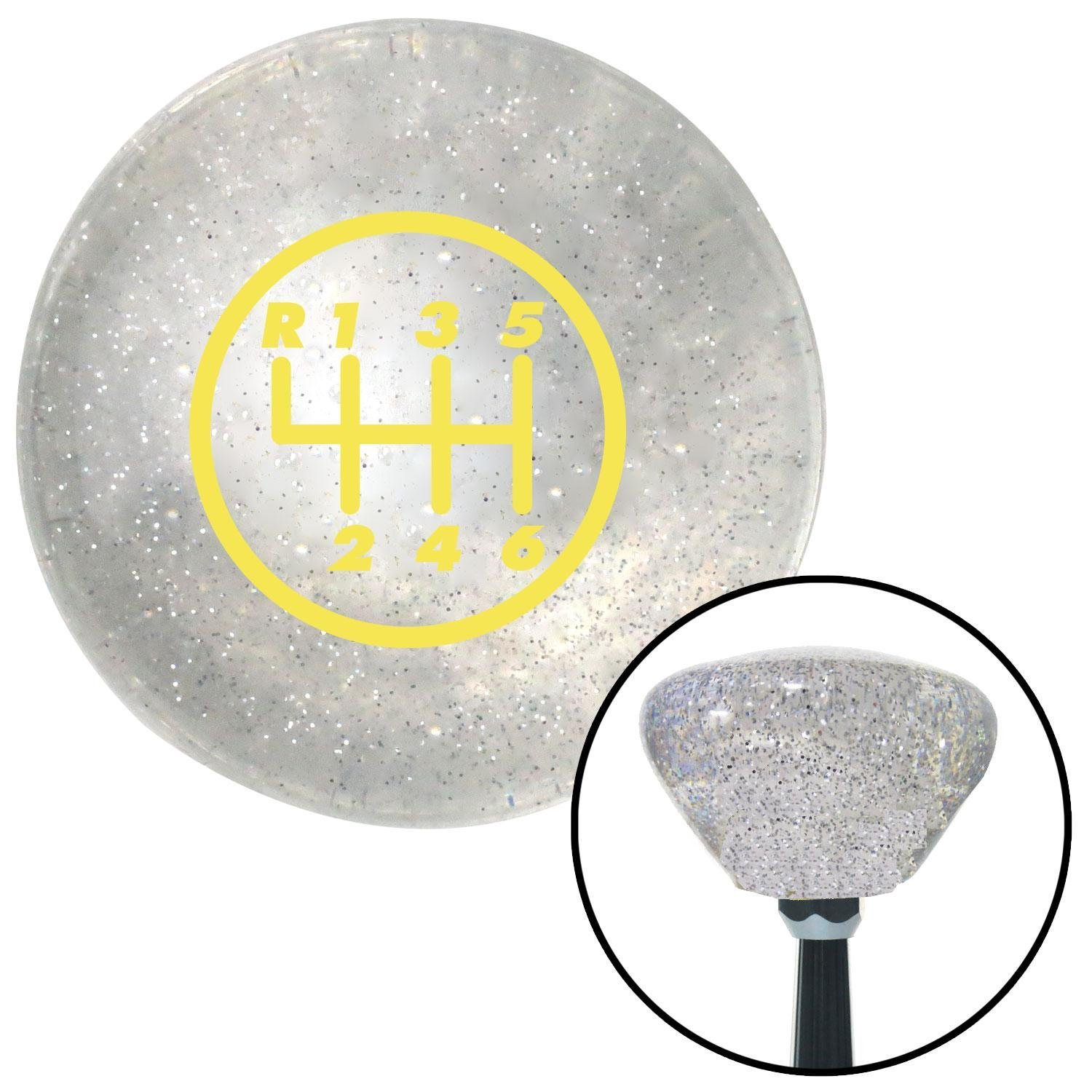 American Shifter 159148 Clear Retro Metal Flake Shift Knob with M16 x 1.5 Insert Yellow 6 Speed Shift Pattern - 6DR-RUL