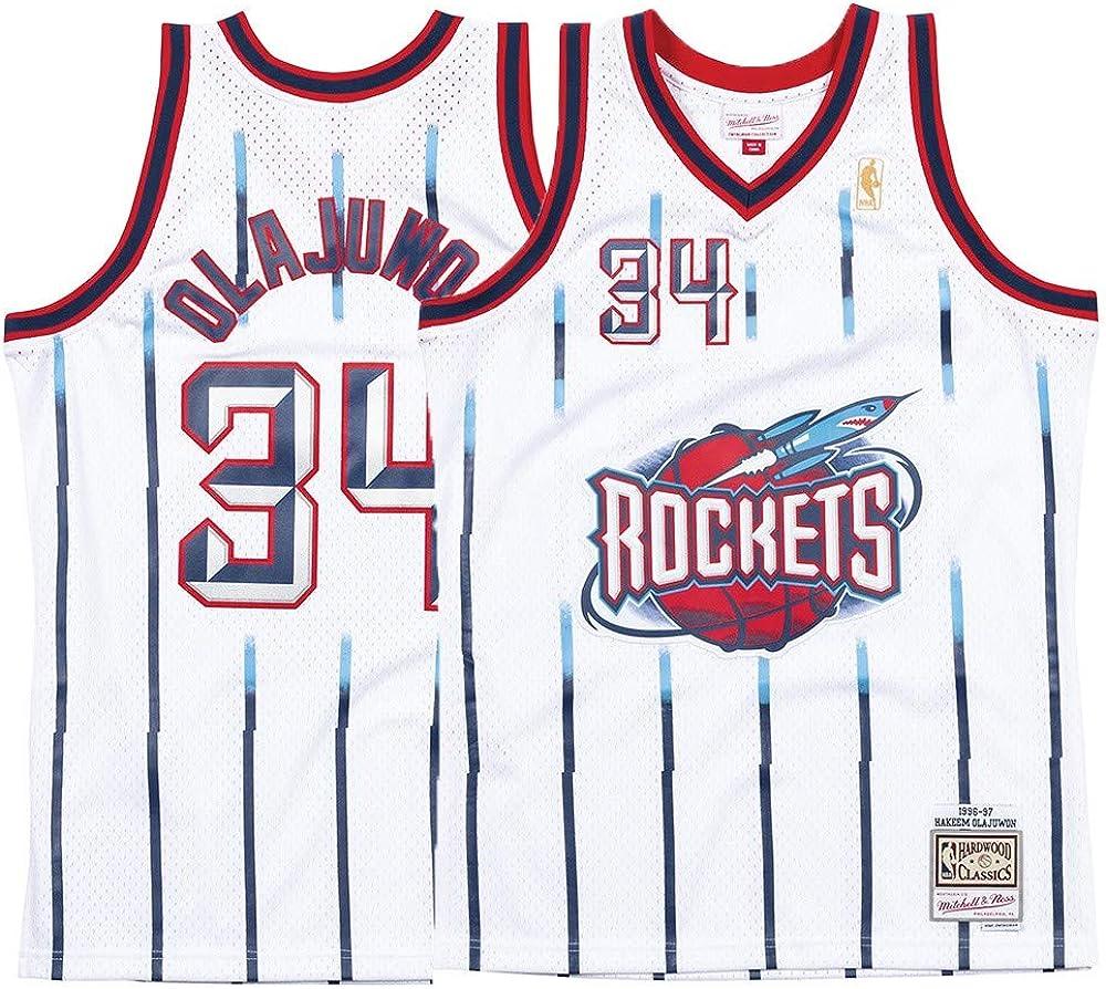 Hakeem Olajuwon Houston Rockets Mitchell and Ness Men's White Throwback Jersey