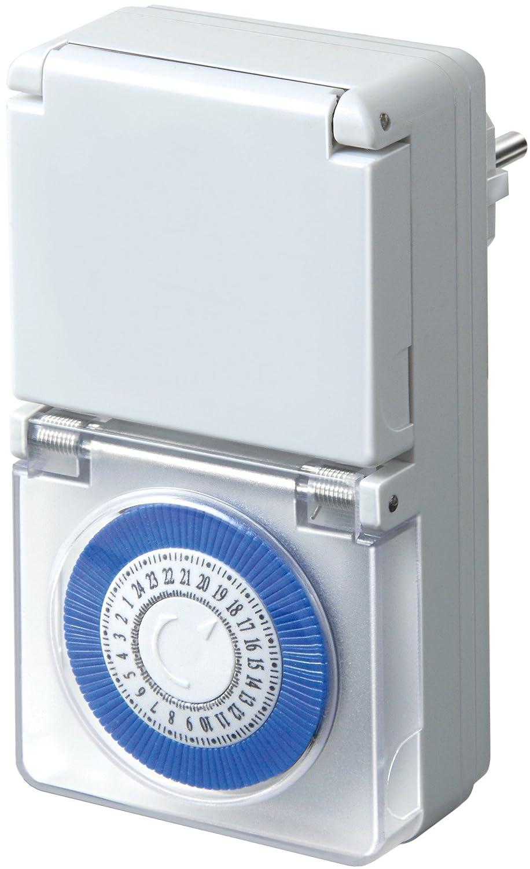 Brennenstuhl Zeitschaltuhr MMZ 44, mechanische Timer-Steckdose (Tages-Zeitschaltuhr, IP44 geschützt, Kindersicherung & Schutzabdeckung) Farbe: weiß 1506170