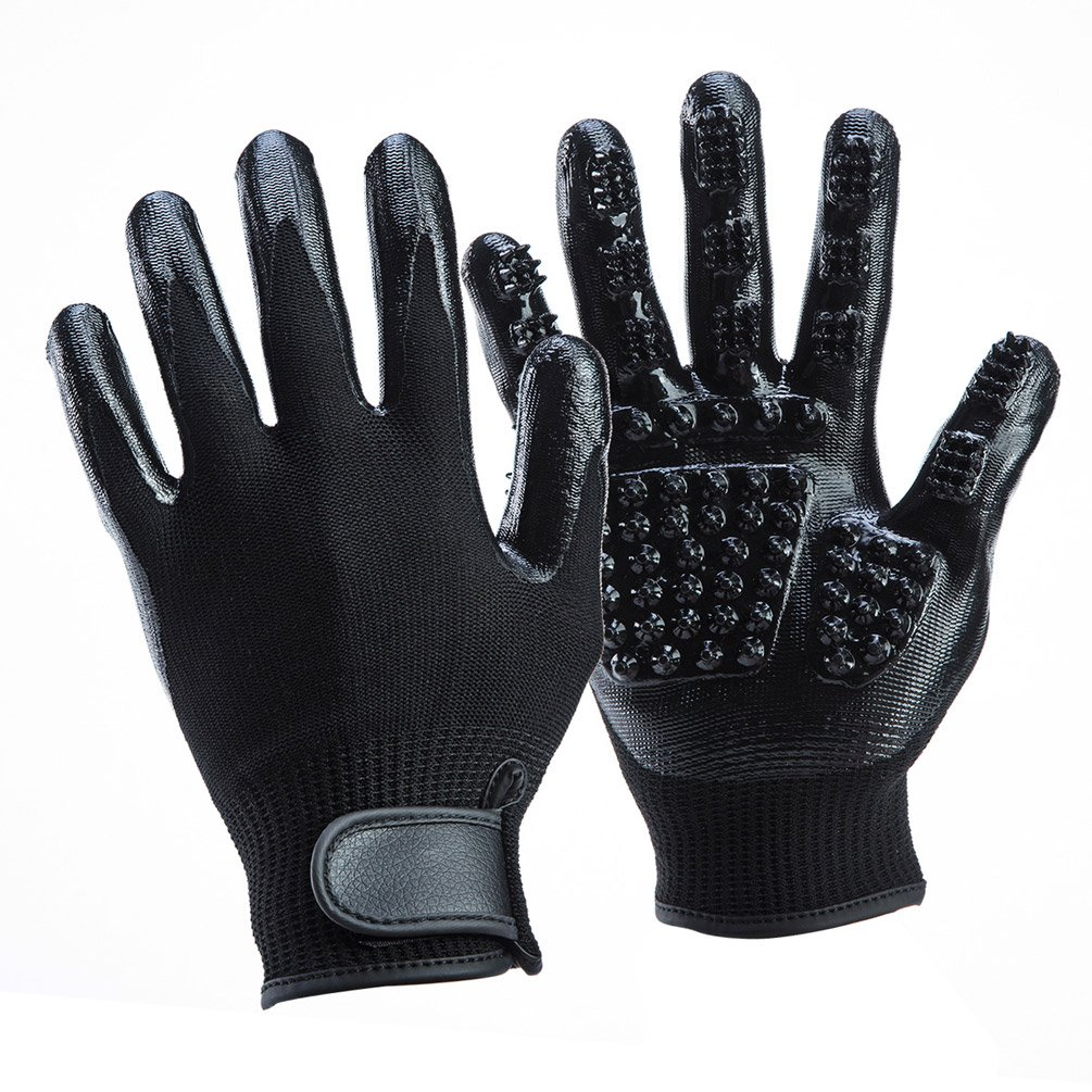 LibbyPet Pet Glooming Gloves for Cats and Dogs Hair Remover Deshedding Brush Glove Combing Massage for Long & Short Fur – Left & Right Hand (Black-S)