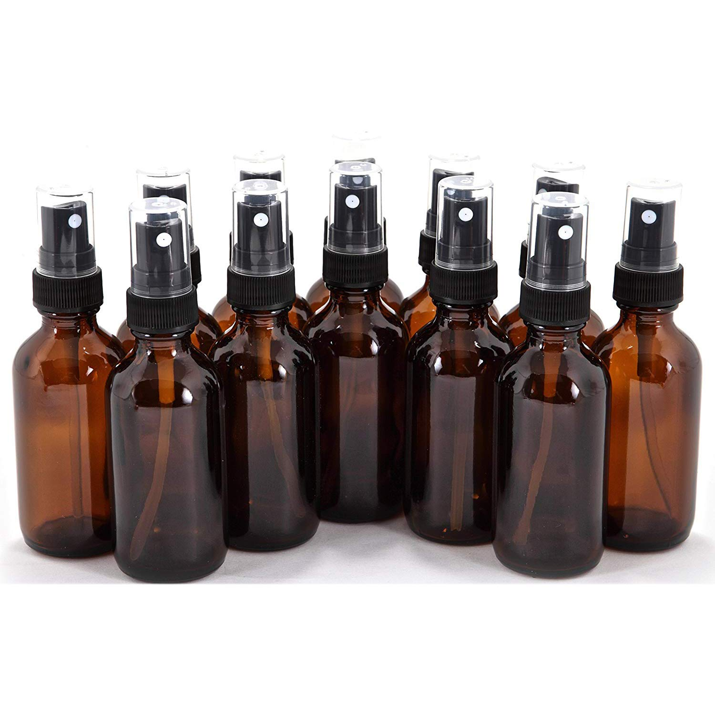 12 count amber glass bottles with black fine mist sprayers 2 oz