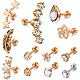 Incaton 12Pcs 16G Stainless Steel Cartilage Cubic Zirconia Stud Earrings for Men Women Girls Conch Forward Helix Tragus Daith