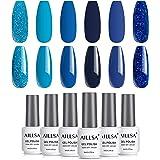 AILLSA Royal Blue Glitter Gel Nail Polish Set, 6 Colors Fall Winter Color Nail Polish Gel Soak Off Deep Dark Blue Gel…
