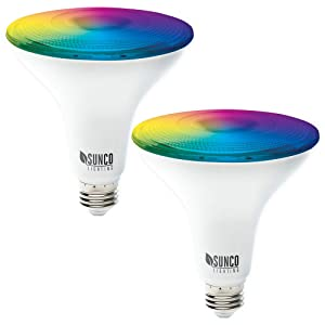 Sunco Lighting 2 Pack WiFi LED Smart Bulb, PAR38, 13W, Color Changing (RGB & CCT), Dimmable, Compatible with Amazon Alexa & Google Assistant - No Hub Required
