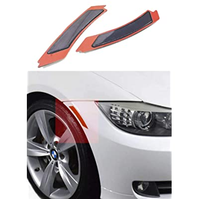 Haneex Crystal Clear/Smoke/Amber/Dark Grey/Red Lens Front Bumper Side Markers Reflector Light Fender Replacement for BMW 3 Series E90 / E91 LCI (Dark Grey Lens): Automotive