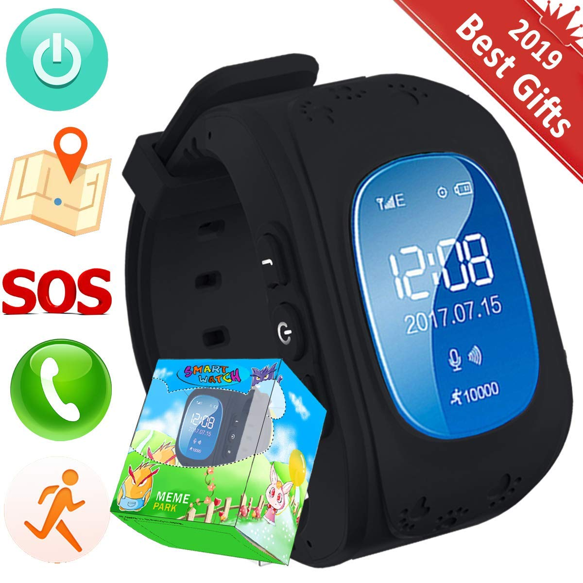 beaucoup de choix de luxe section spéciale TURNMEON Smart Watch Enfants Montre Connectées GPS Locator Tracker  Téléphone Anti-Perte SOS Poignet Bracelet pour iOS Android Smartphones  (03Noir)