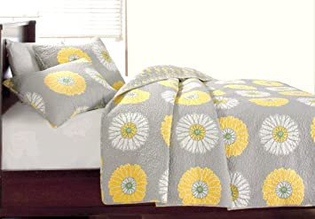 Amazon cozy line home fashions anya floral grey yellow white cozy line home fashions anya floral grey yellow white sunflower flower printed cotton bedding quilt set mightylinksfo Image collections