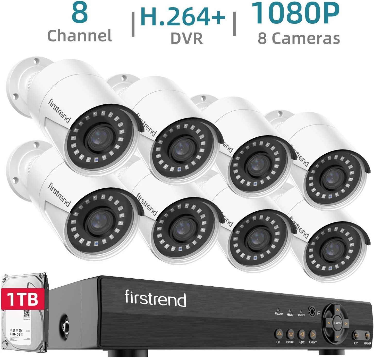 Firstrend 1080P Home Security Cameras System with 8PCS Video Surveillance Cameras and 1TB Hard Drive Outdoor Indoor DVR CCTV Systems Free App Night Vision Motion Detection