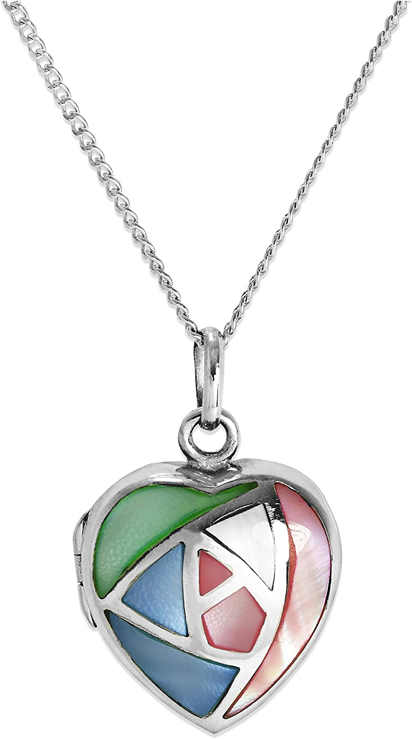 Sterling Silver /& Pastel Coloured Mother of Pearl Heart Locket on Chain 16-24 Inches