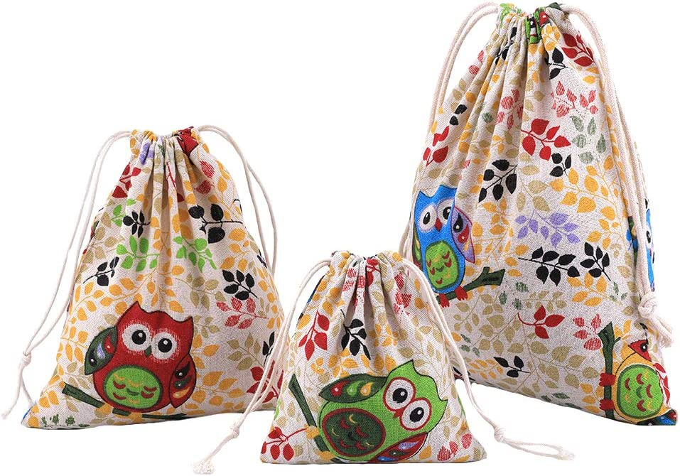 Reusable Drawstring Bag Nursery Organisers Bag for Toys Baby Diaper Party Gift School Amoyie Plain Canvas Bag for Painting 4 Pieces Set