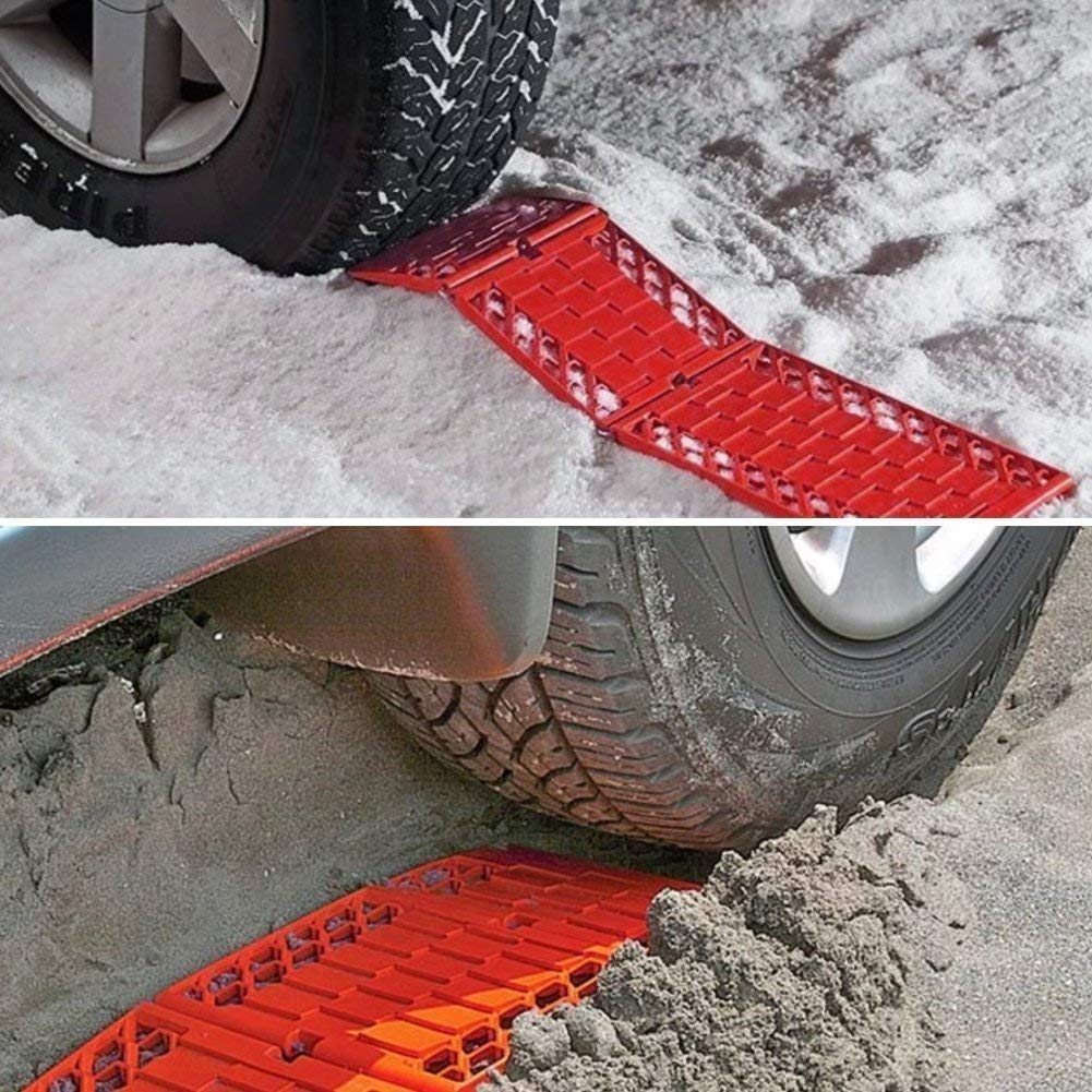 Red DEDC 2 Pack Foldable Car Tire Traction Mats Tire Chocks Tire Grip Aid Ideal Chock to Unstuck Car from Snow Ice Mud Sand