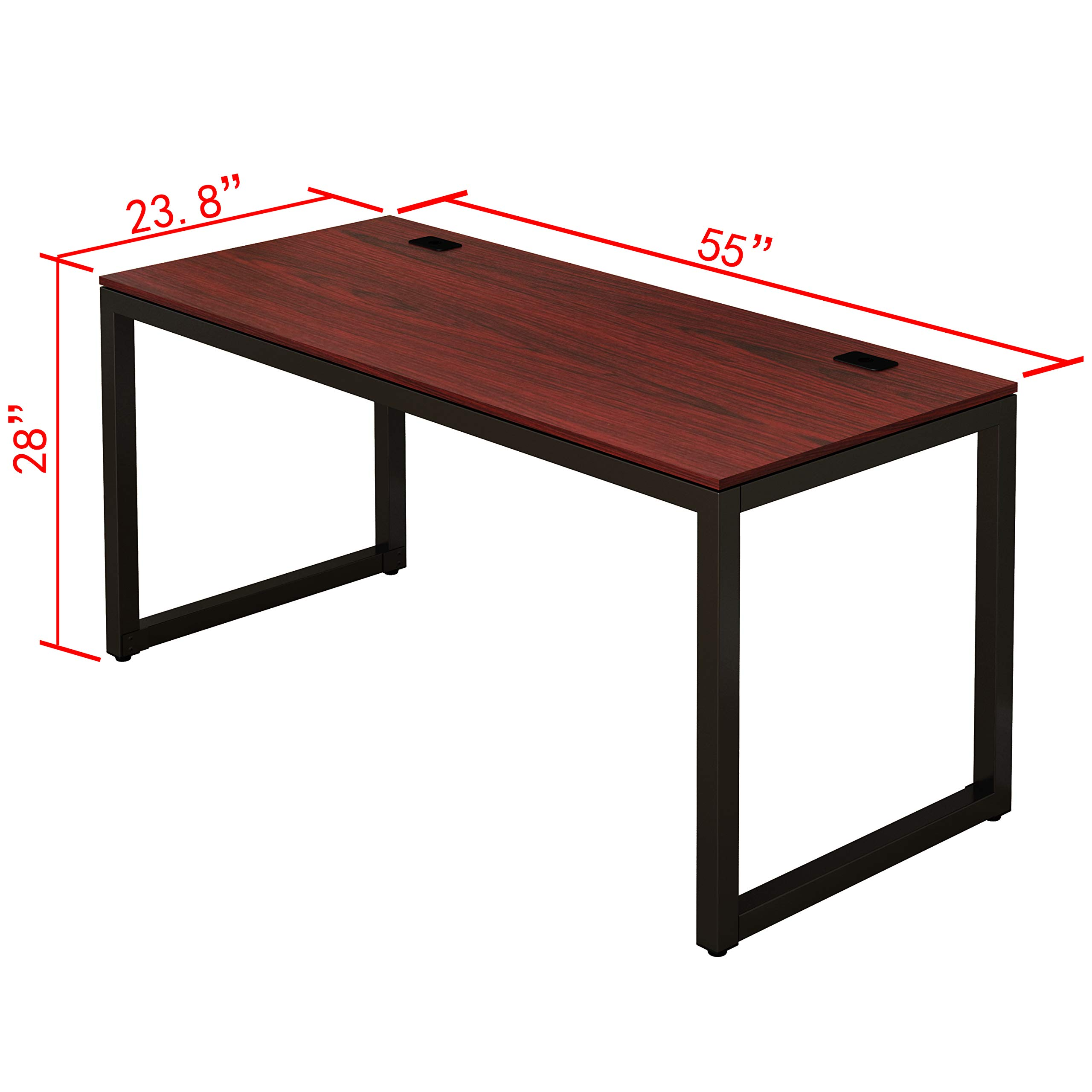 SHW Home Office 55-Inch Large Computer Desk, Cherry by SHW (Image #4)