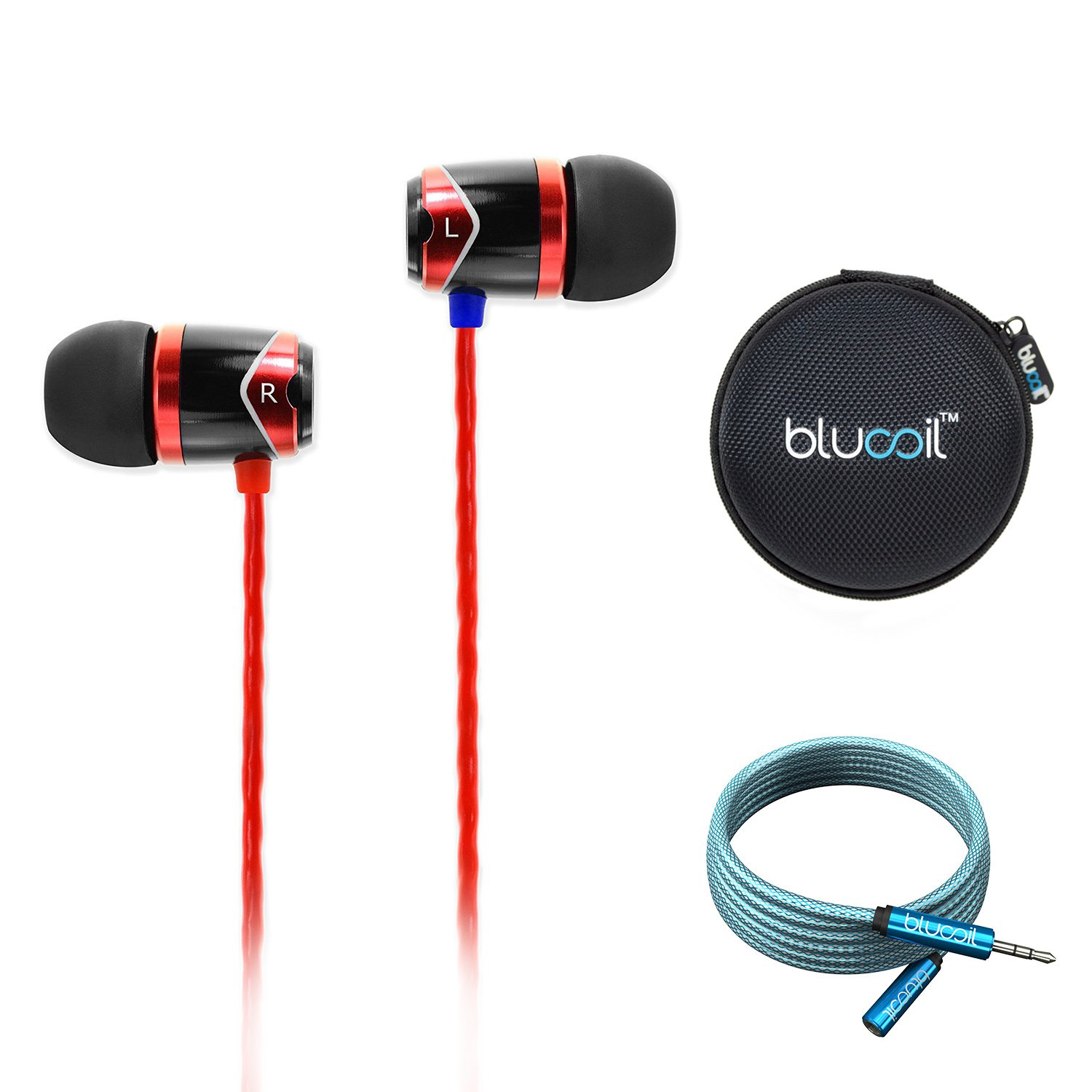 SoundMAGIC E10 in-Ear Earphones Noise Isolating Earbuds (Black/Red) Bundle with Blucoil 6-Ft Extension Cable and Portable Earphone Hard Case