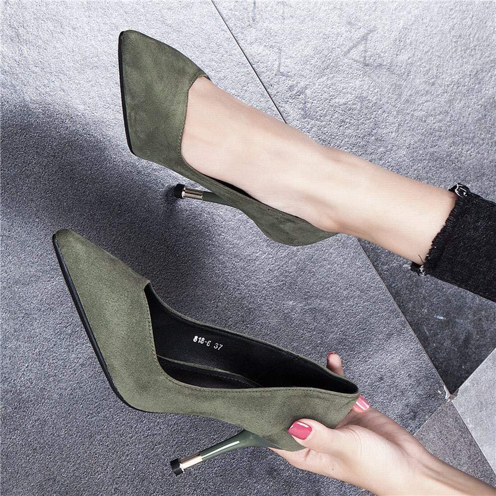 Yajiemei Damen-High-Heel-Stiletto-Schuhe mit schwarzen Etikette (Farbe   Grün, Größe Größe Größe   36) c16ec3